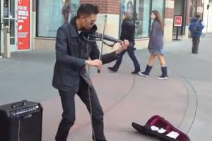 Street Musician With Electric Violin