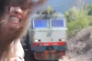 Girl Nearly Beheaded By Oncoming Train