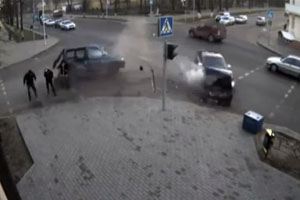 Lucky Pedestrian In Crash
