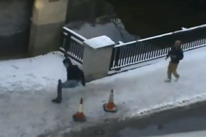 Icy Sidewalk Owns People