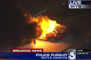 Police Chase Ends In Flames