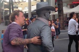 Street Performer Hits Drunk Man