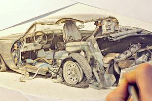 Pencil Drawing Cars