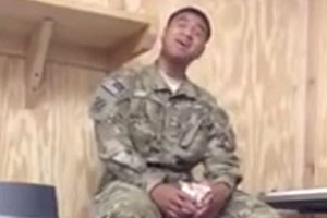 Soldier Sings Rihanna's Song