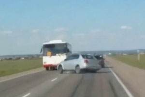 Car Crashes Into The Bus