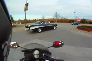 57 Chevy Bel Air vs Motorcycle