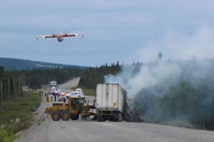 Water Bomber Helps With Accident