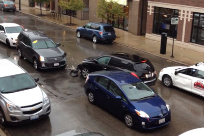 Driver Smashes Six Cars