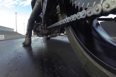 Awesome Dragracing Motorcycle Chain Close Up