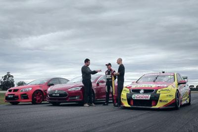 Tesla Model S vs. Holden V8 Supercar vs. Walkinshaw HSV GTS Drag Race