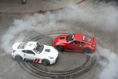 Two Drivers Drift Through Abandoned Mall With Nissan 370z