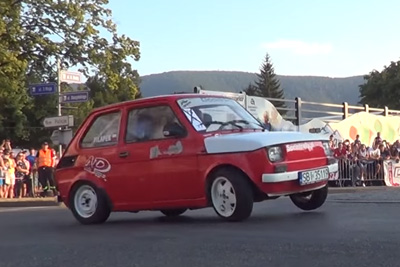 Crazy Fiat 126 Rally Driver