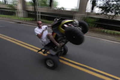 Stupid Rider Crashes His Quad Bike Hard Right Into Oncoming Car
