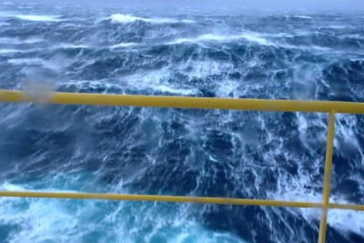 This Is How Huge Waves Looks Like From An Oil Platform