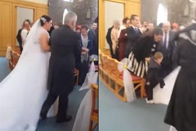 Crazy Kid Dive Bombs Bride's White Wedding Dress