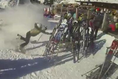 Skiier Crashes Hard Right Into Ski Equipment