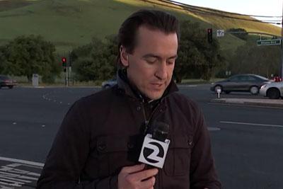News Reporter Narrowly Escapes Car Crash