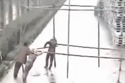 Electricity Shocks Chinese Workers After They Hit An Electrical Wiring
