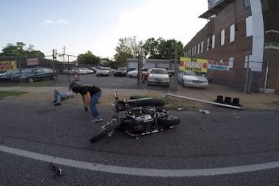 Harley Rider Crashes Right Into Light Pole At Ride Of The Century