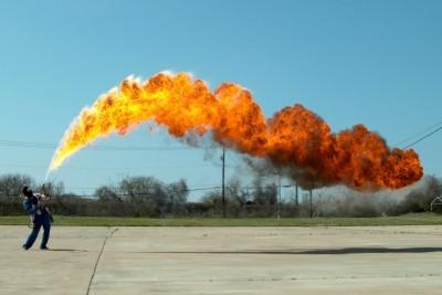 50 ft Flamethrower In Super Slow Motion