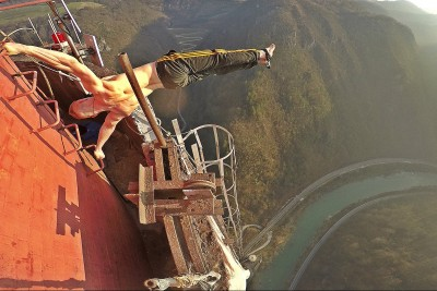 Crazy Dominik Sky Shocks Everyone With His Act On The Top Of Highest Chimney In Europe