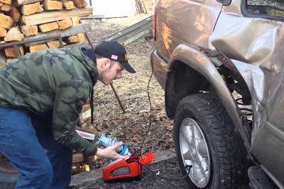 Redneck Tire Mounting With Fire Goes Wrong