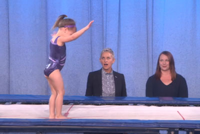 Ellen Can't Hide Her Shock When 3-Year-Old Gymnast Pulls Off This Move On Show
