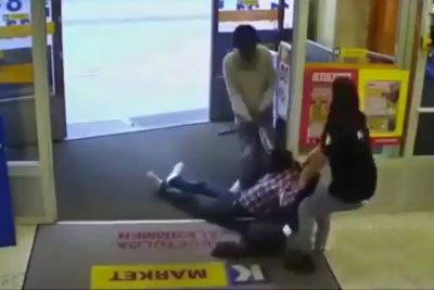 Young Woman From Finland Stops Somalian Migrants From Stealing From Her Shop