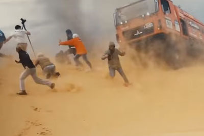Spectator Gets Hit By A Rally Truck In The Sand Dunes