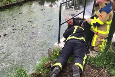 When You Will See What This Firefighters Pull Out Of A Manhole Your Day Will Be Better