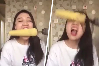 Girl Eating A Corn With A Help Of Drill Fails Hard