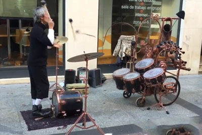 Asian Drummer Nails His Street Performance While Juggling Drumstick Against Drums