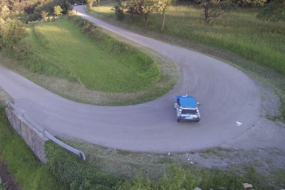 Drone Close Call With Rally Car Captured By Two Drones