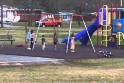 Five Kids Are Standing Still At The Playground, Then Mom Zooms The Camera Out And Realizes Why