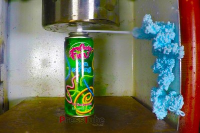 Crushing A Can Of Silly String With A Hydraulic Press