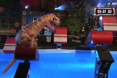 Inflatable T-Rex Absolutely Dominates 'American Ninja Warrior' Course