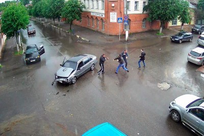 This Happens If You Crash Into A Wrong Car In Russia