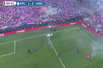 Croatian Fans Throw Fireworks On Field During Soccer Match Against Czech Republic