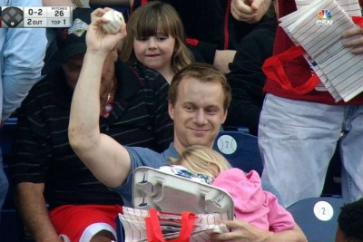 With His Daughter In Arms, A Dad Catches A Foul Ball With Ease At The Philadelphia Phillies Game