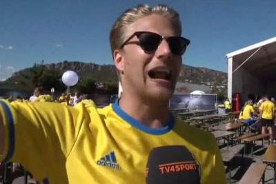 Emotional Swedish Football Supporter Venting Out His Frustration