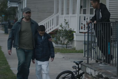 Dad Protects Son From Neighborhood Bullies - But Notice The Secret Hiding Under His Blue Coat!