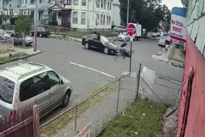 Guy On Scooter Blows The Stop Sign And Hits A Car In Bridgeport