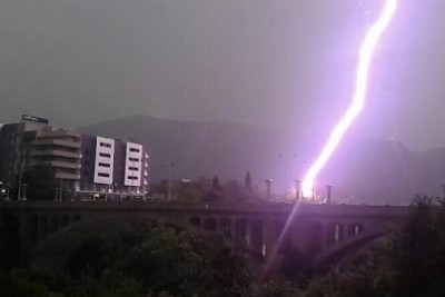 Up-Close Video When Lighting Strikes Bridge In Bosnia And Herzegovina