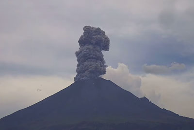 Watch A Volcano Erupt And Spew A Swirling Mass Of Ash Into The Sky