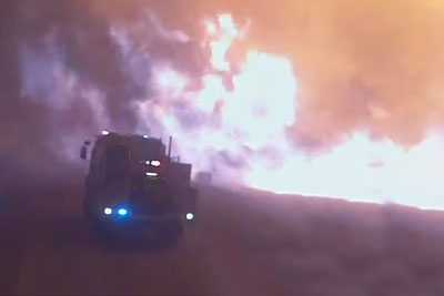 Dramatic Video Of Fire Trucks Overrun By Flames In Australia