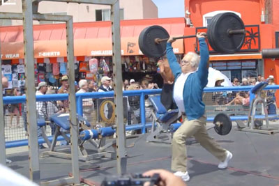 That Moment When Your Grandpa Shows Up And Puts Muscle Beach Regulars To Shame