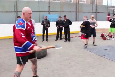 Guys In A Russian Prison Doing Combat Training