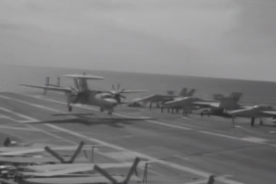 Cable Snaps On USS Eisenhower During Plane Landing