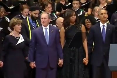 George W. Bush Inappropriately Dancing At The Memorial For The Slain Dallas Police Officers