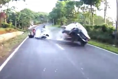 It's A Miracle Everyone Survived This Bike Crash In Indonesia